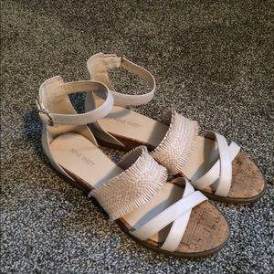 Nine West Cream Leather Sandals